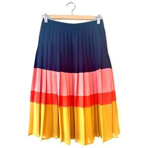 Ann Taylor Colorblock Pleated Skirt - Size 0